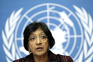 UN High Commissioner for Human Rights Pillay addresses a news conference at the United Nations European headquarters in Geneva