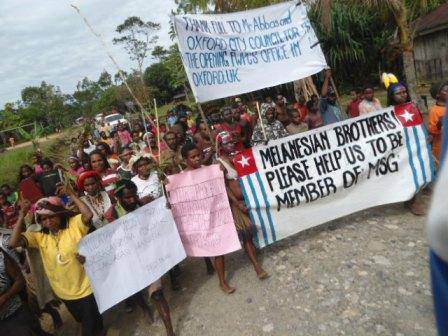 Tens of thousands of West Papuan people demonstrate throughout West Papua during all of 2013, asking the Melanesian Spearhead Group for full membership as fellow Melanesians