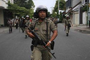 Indonesian Mobile Police Brigade (BRIMOB) notorious for committing human rights abuses.