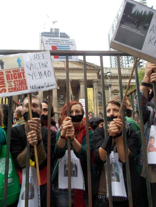 Protestors behind bars in Melbourne