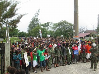 Hundreds to thousands of Papuans joined the rally  in Timika calling for a referendum