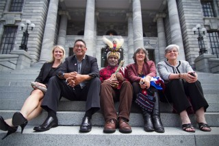 Photo: Mana Party leader Hone Harawira and Labour MP Maryan Street join Free West Papua Campaign founder Benny Wenda, his lawyer Jennifer Robinson and Catherine Delahunty on New Zealand's parliament's steps in 2013