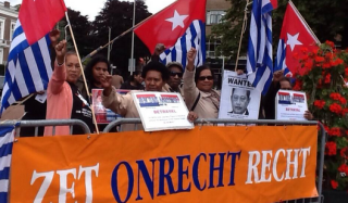 Free West Papua Campaign protests to refuse the New York Agreement outside the International Court in the Hague, Netherlands