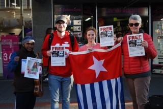 Free West Papua Campaign holds a demonstration in Tasmania, Australia for the journalists's release