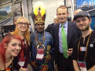Benny Wnd Free West Papua Campaign supporters after being interviewed by Andrew Marr for BBC news