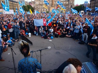 enny Wenda speaking to thousands of Scottish people the day before the Scottish independence referendum