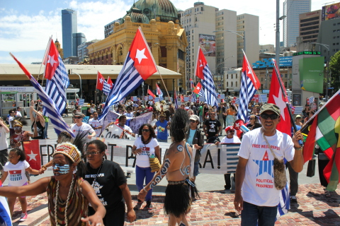 Flags are flown in large numbers in Melbourne.