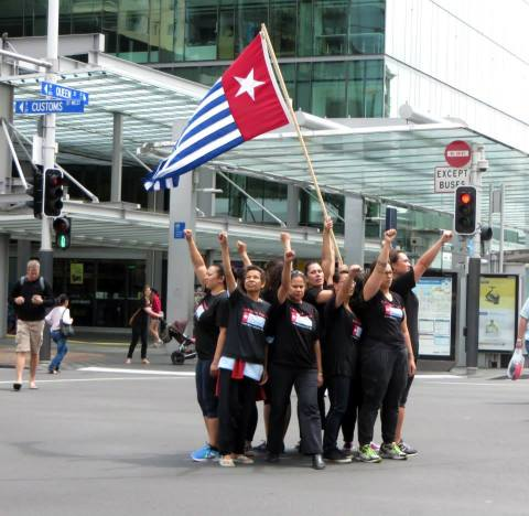 The Morning Star proudly held aloft in Auckland.