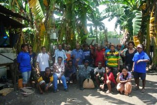 Free West Papua Campaign founder Benny Wenda with West Papuan refugees at Waigani refugee camp in Port Moresby