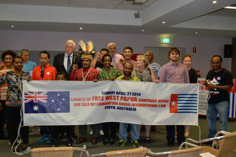 Benny attends the launch of the Free West Papua Campaign office in Perth, Australia
