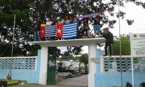 West Papuan flag raised at Santa Cruz Cemetary, Dili, Timor-Leste