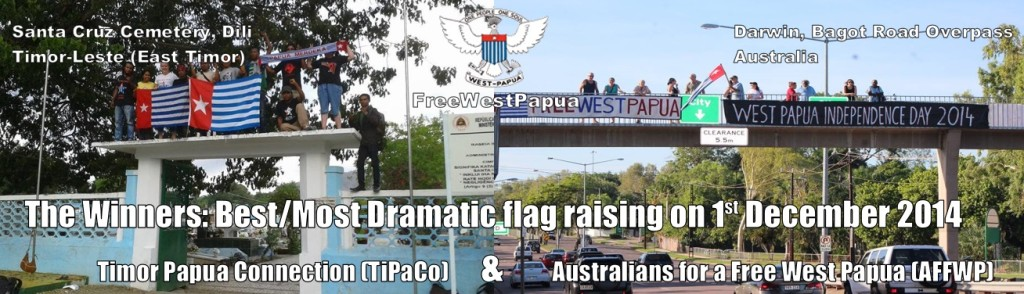 Winners of the 1st December flag raising for West Papua 2014
