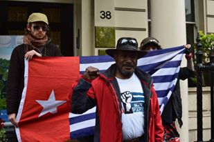 West Papuan independence leader Benny Wenda joined the protest in London