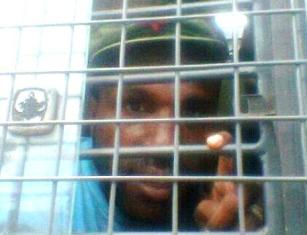 Victor Yeimo, the current Chairperson of the KNPB, imprisoned after a rally