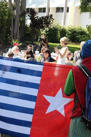 Australian Minister for Foreign Affairs, Julie Bishop, speaking at the fundraiser attended by Free West Papua activists