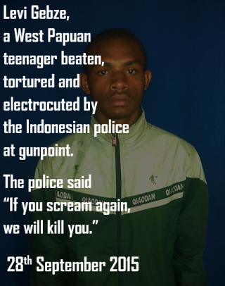 Levi Gebze, a West Papuan teenager beaten, electrocuted and tortured by the Indonesian police in Merauke