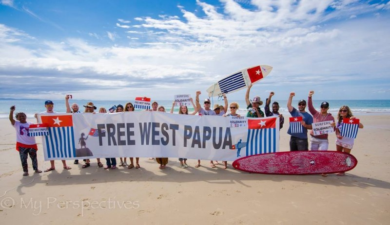 The world's first Free West Papua surf protest! Photo from My Perspectives Photography