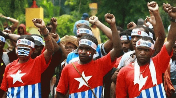 West Papuan students protesting for self-determination and freedom