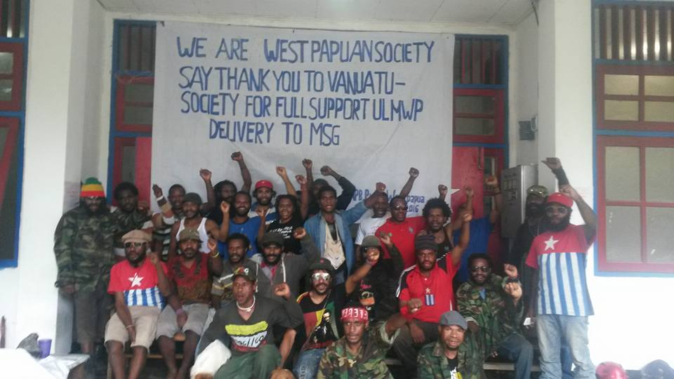 West Papuans demonstrate to show their thanks to Vanuatu for supporting their full membership of the Melanesian Spearhead Group (MSG). Photo: West Papua National Committee