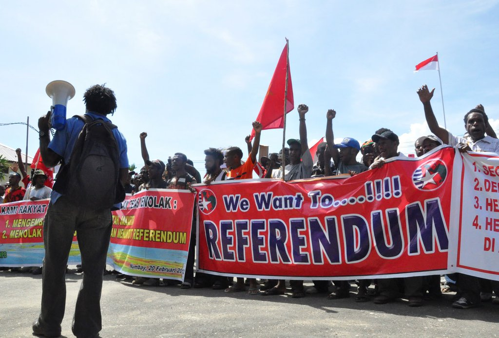Protestors in West Papua calling for an independence referendum.