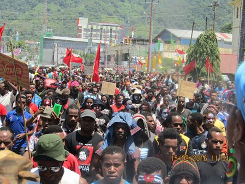 West Papuan people marching in Port Numbay/Jayapura to call for justice