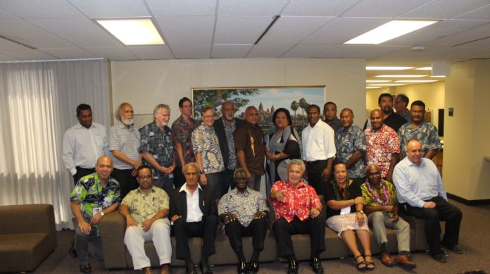 The Pacific Coalition on West Papua meeting in Honolulu, Hawaii. Delegates included the Prime Ministers of Solomon Islands, Tonga, Tuvalu and Marshall Islands