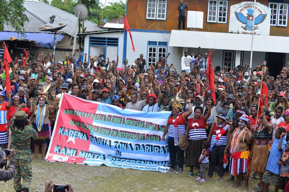 West Papuan people hold a rally in Timika calling for self-determination