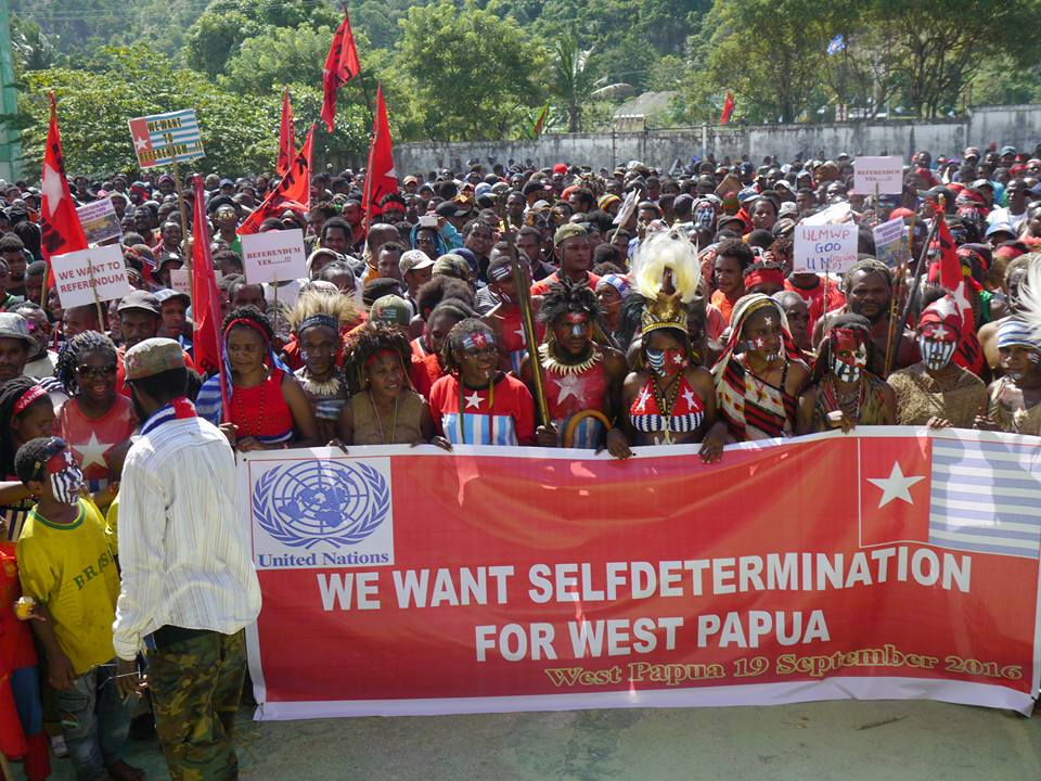 West Papuan people gather in Port Numbay/Jayapura to call for self-determination and to thank the increasing number of Pacific Island nations which are supporting them