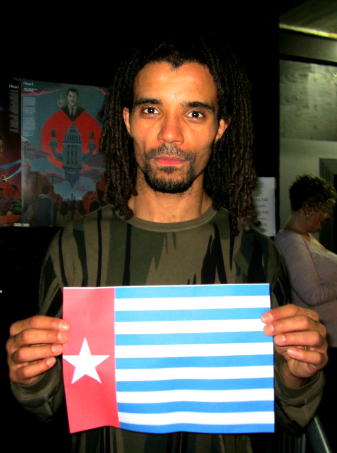 Renowned UK artist Akala raising the Morning Star flag and showing his solidarity for a Free West Papua!