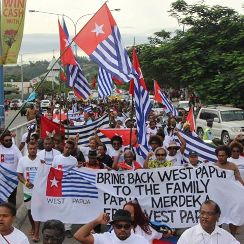 Mass Free West Papua rally in Honiara, Solomon Islands 2015, calling to Bring West Papua Back to the Family as a full member of the Melanesian Spearhead Group (MSG).
