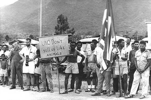 West Papuan people in 1962 calling on the United Nations not to sell them like animals to Indonesia.